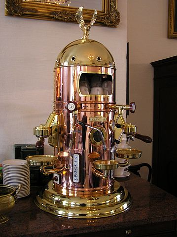 Traditional brass and copper espresso machine
