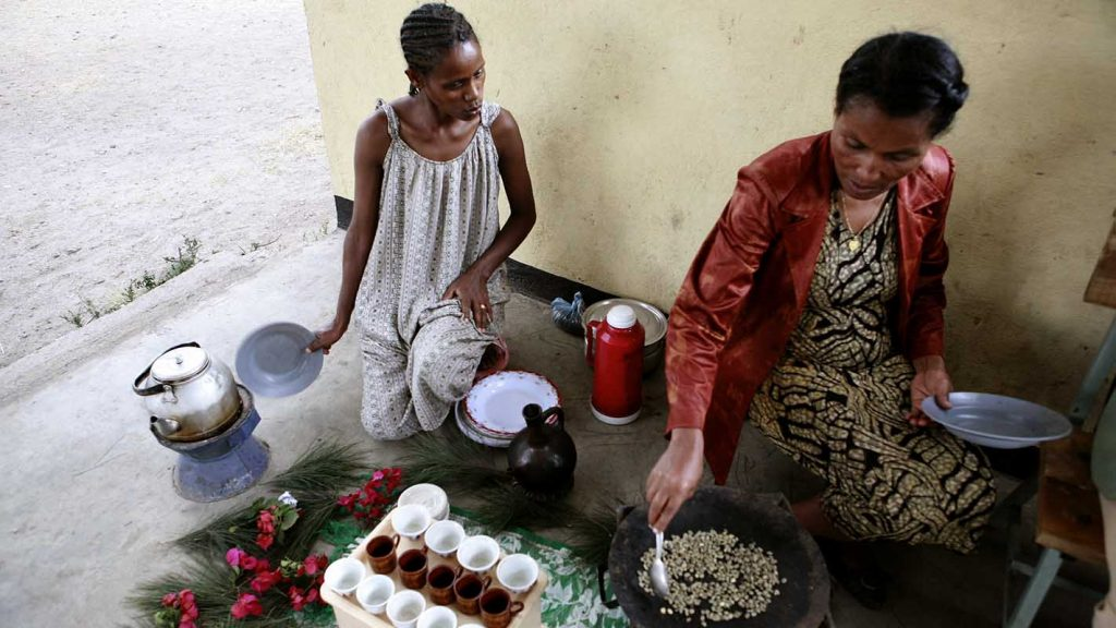 Ethiopian women preparing coffee in the traditional way.
