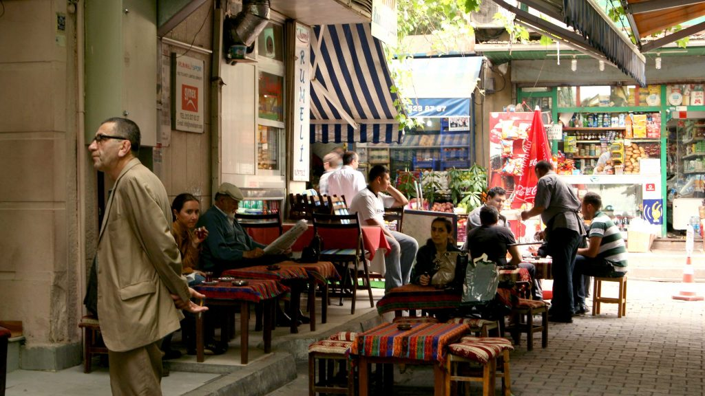 A typical Turkish market cafe