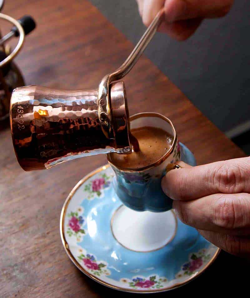 Turkish coffee sezve pot and cup