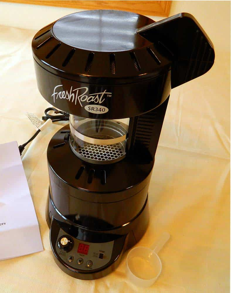 The Fresh Roast SR340 hot air coffee roaster